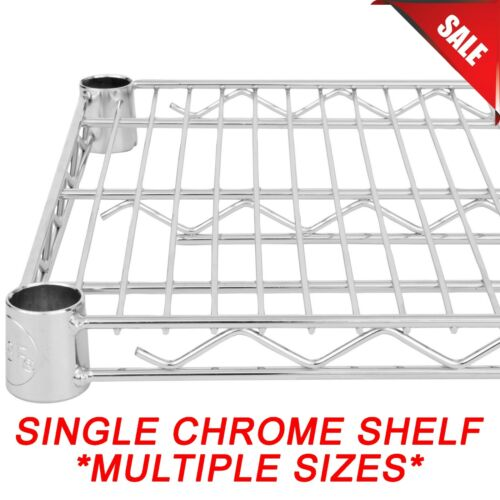"""ANY SIZE"" SINGLE Chrome Wire Metal Shelf for Shelving Unit Rack Vented New"