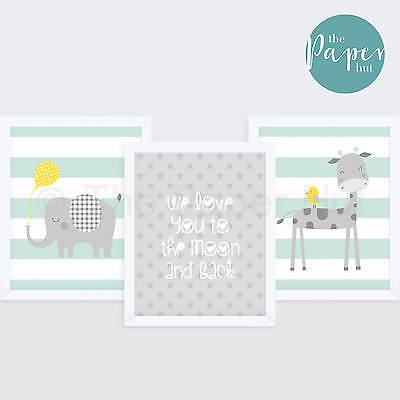 "Unisex Nursery Art Print Mint and Grey 8"" x 10"" Three Pack | Jungle Safari"