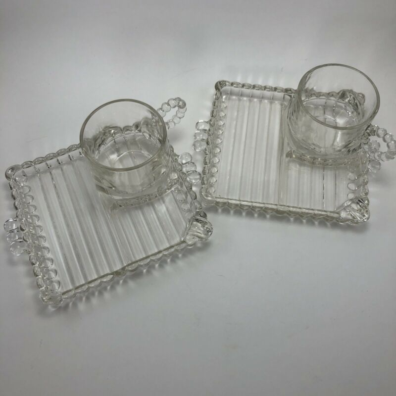 Set of 2 Hazel Atlas Half Size Snack Sip Smoke Square Ribbed Glass Divided Tray
