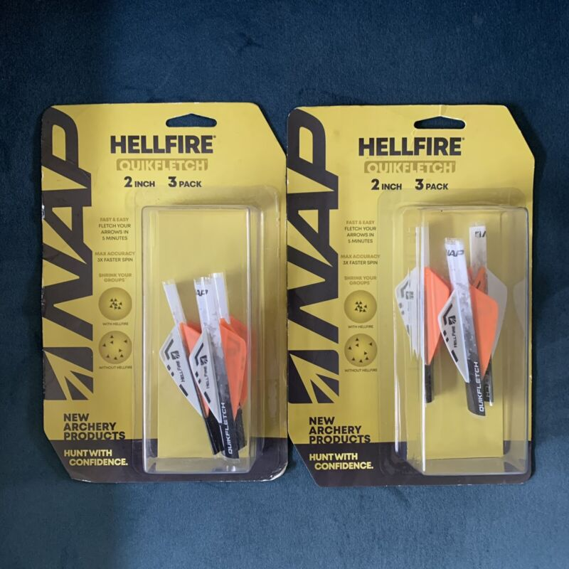 """NAP New Archery Products Hellfire Quikfletch 2"""" Fletching Vanes 2 Packs of 3"""