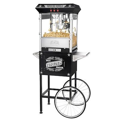 Black Antique Style 8 Ounce Popcorn Popper Machine And Cart Commercial Or Home