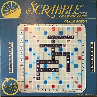 vintage scrabble deluxe game turntable SELCHOW & RIGHTER 1977 wear to box new