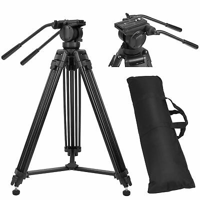 "Professional Heavy Duty DV Video Tripod with Fluid Pan Head Kit 72"" For Camera"