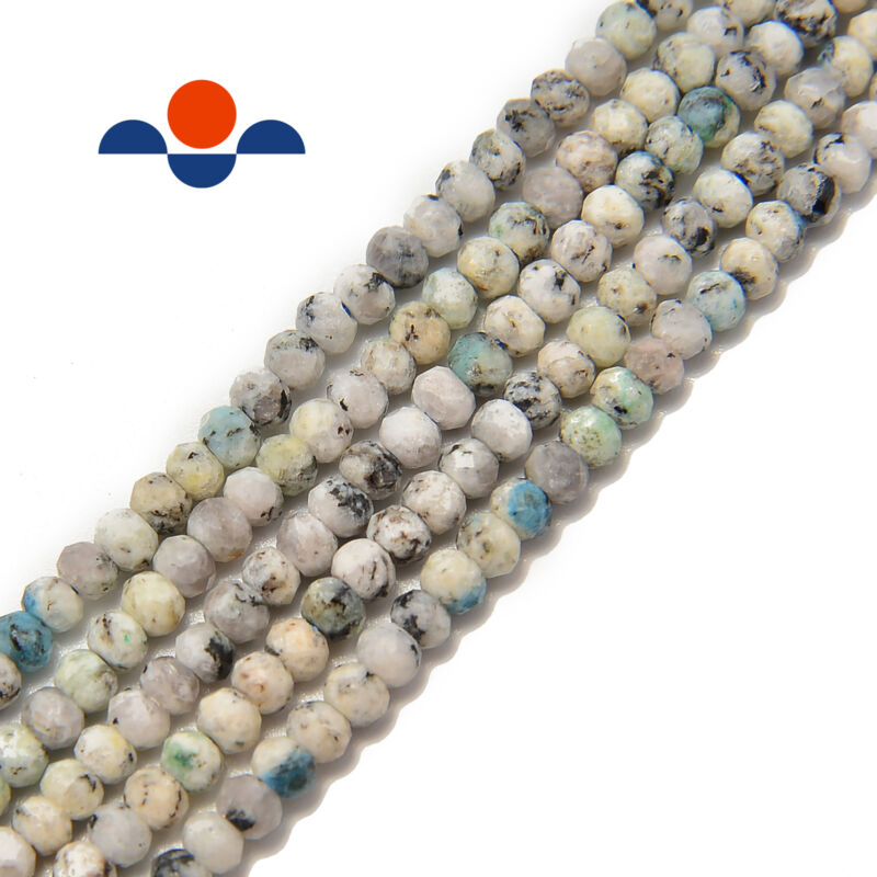 """Natural K2 Faceted Rondelle Beads 2x3mm 15.5"""" Strand"""