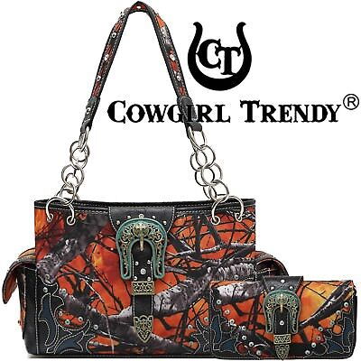 Camouflage Buckle Purse Concealed Carry Handbags Women Shoulder Bag Wallet Set