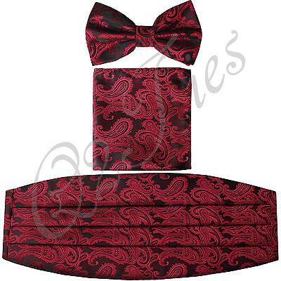 New Paisley Black / Red Men's Cummerbund And Bow tie & Pocket Square Hanky Set
