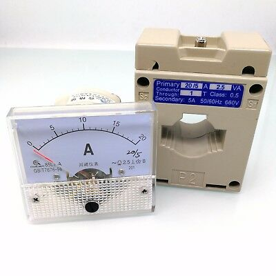 Us Stock Analog Amp Current Panel Meter Gauge Ac 0-20a 85l1 Current Transformer