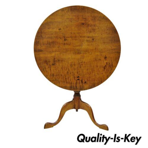 18th Century Antique Tiger Stripe Maple Tilt Top Queen Anne Tea Table