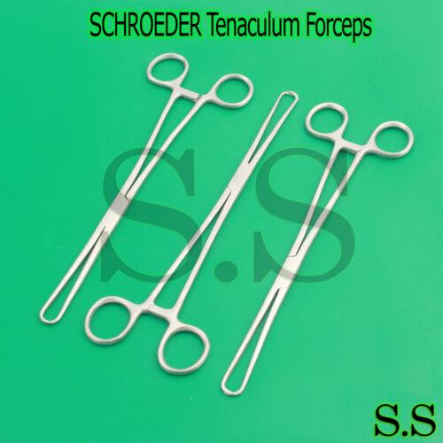 """3 Schroeder Tenaculum Forceps 9.50"""" Surgical O.R Grade"""