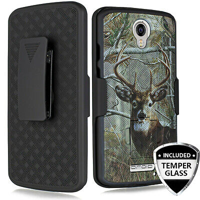 Motorola Droid Turbo 2 XT1585 Slim Armor Shell Holster Camo Clip Case & Screen