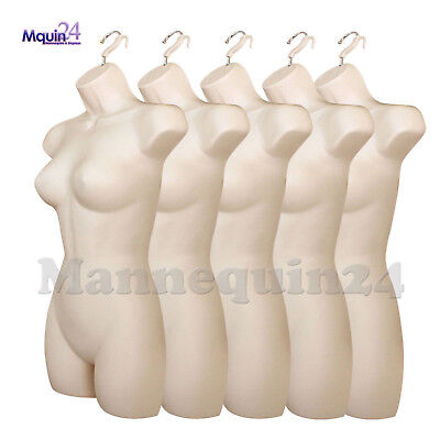 5 Pack Mannequin Torsos Female - Flesh Womens Plastic Hanging Dress Form