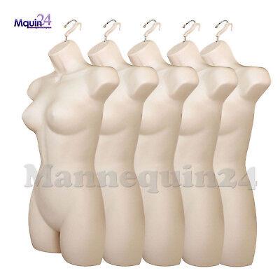 5 Pack Mannequin Torsos Female - Flesh Womens Plastic Hanging Dress Form