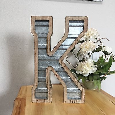 Large WOOD & CORRUGATED METAL - Wedding Home Family - Wall INDUSTRIAL LETTER K