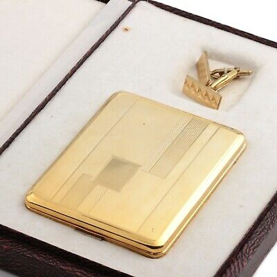 Vintage Art Deco gentlemans gold gilt cigarette case cufflink presentation set