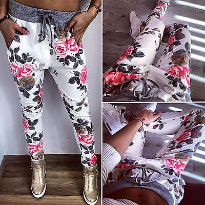 Womens Sports Stretch Casual Skinny Pants Floral High Waist Trousers Sweatpants