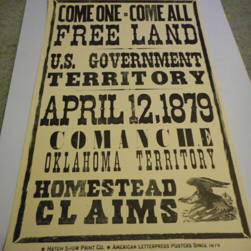 Oklahoma Free Land Homestead Claim Hatch Poster