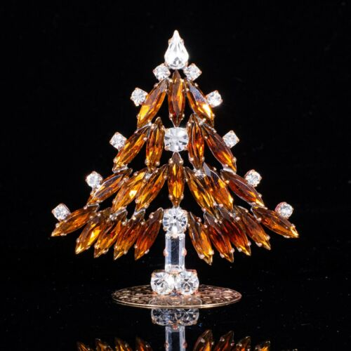 "Christmas tree - rhinestone - made in Czech republic - stand-up - 2.76"" x 2.56"""