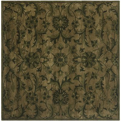 Hand-Tufted Antiquity OLIVE GREEN Wool Area Rug 6' Square Hand Tufted Olive Green