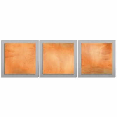 Modern Abstract Metal Wall Art - Contemporary Accent Painting, Orange Home Decor