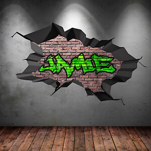full colour personalised 3d graffiti name cracked wall art stickers decals mural ebay. Black Bedroom Furniture Sets. Home Design Ideas