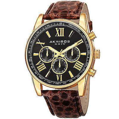 Men's Akribos XXIV AK864YGBR Gold-tone Multifunction Brown Leather Strap Watch