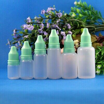 Lot 10 Pcs 5ml 10ml 15ml 18ml 20ml 30ml Tamper Proof Safe Plastic Dropper Bottle