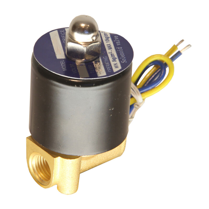 "HFS(R) 12V Dc 1/4"" Electric Solenoid Valve Water Air Gas, Fuels N/C - Brass"