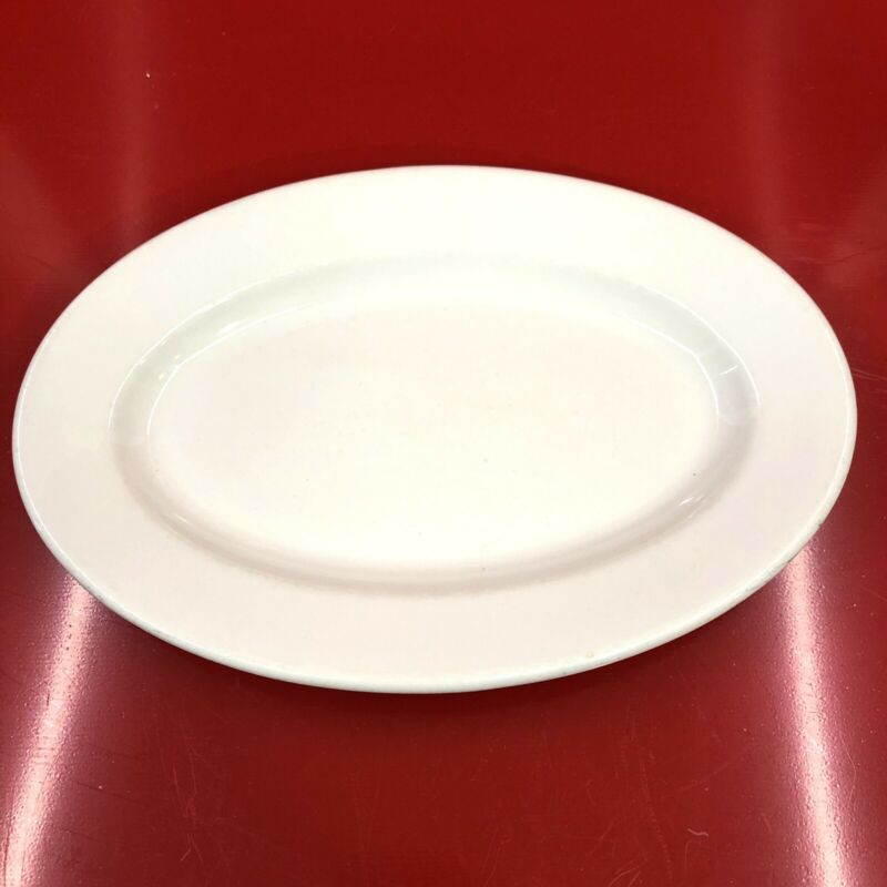 "Oval Plate Restaurant Ware Vintage White Buffalo China USA 12x8"" Oval Plate"