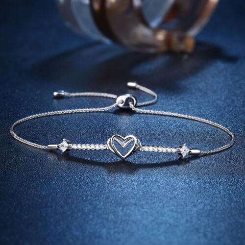 Adjustable Chain Bracelet For Women Double Love Heart Sterling Silver White Cz
