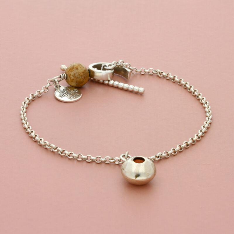 gai russo sterling silver aveda jasper charm toggle bracelet size 7.5in