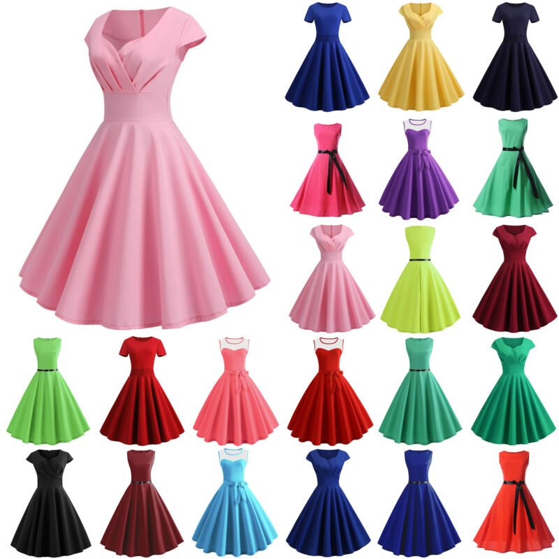 Damen Vintage Swing Kleid Rockabilly Petticoat Retro 50er Jahre Party Abendkleid