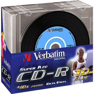 VERBATIM 43426 VINYL SLIM CD-R 700MB 52X Rohling 10er Pack Slim Case
