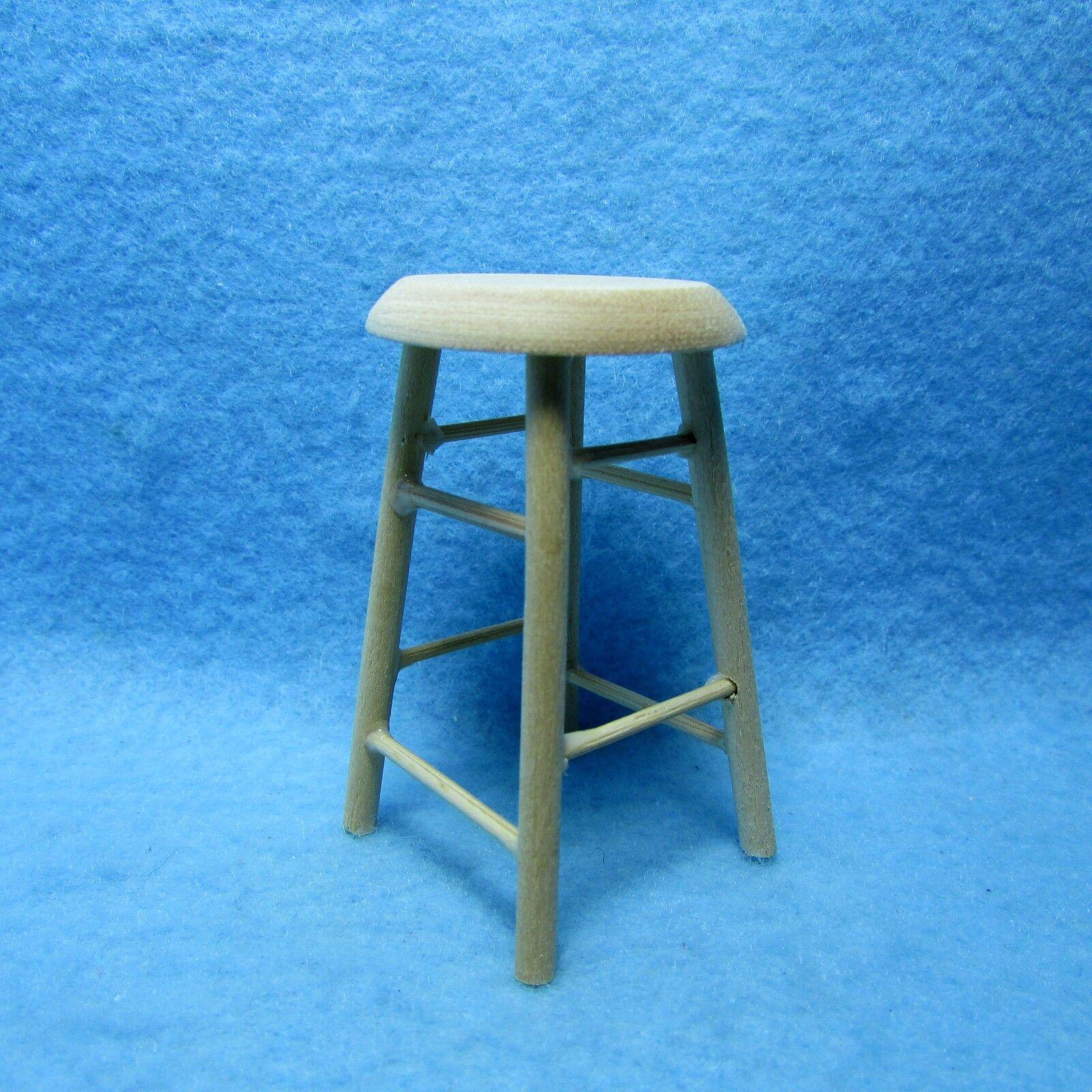 Dollhouse Miniature Wooden Bar Stool / Stool Unfinished / Na