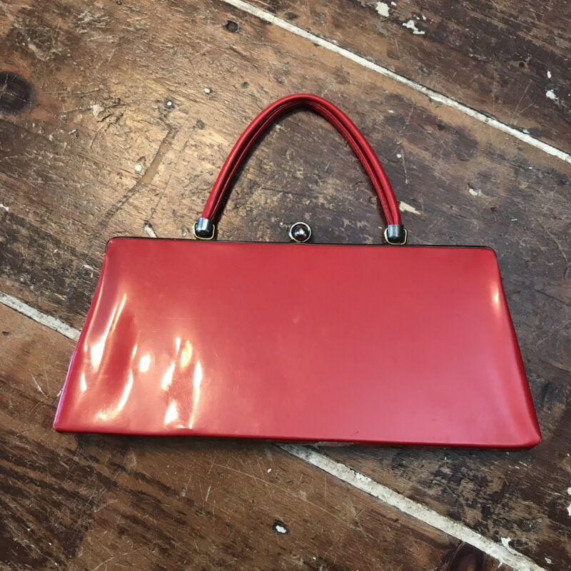 Vintage 60s Red Vinyl Purse Womens Handbag Tote Bag