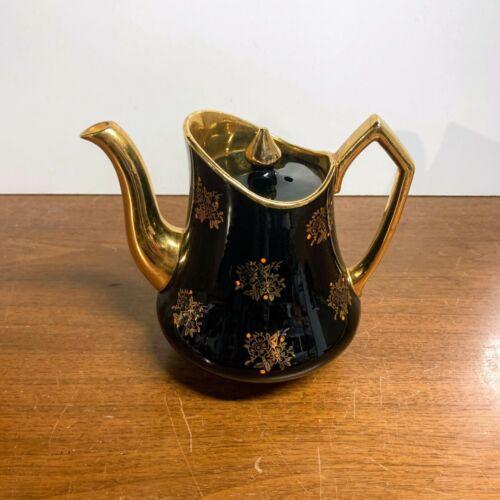 Vintage Black and Gold Enameled Paint Oranges Teapot Art Deco