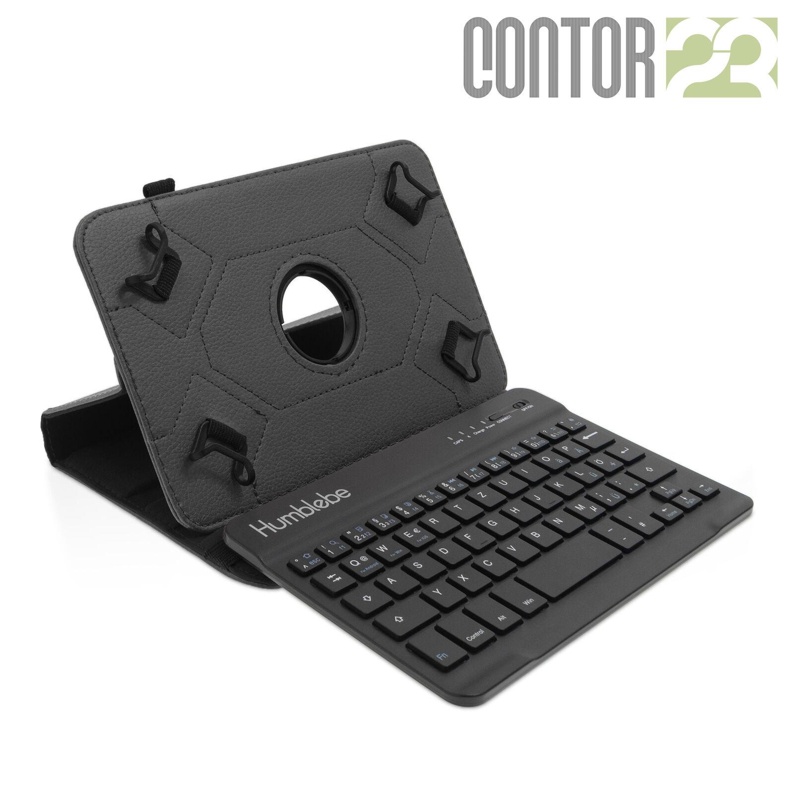 360° Tablet Schutzhülle +Bluetooth Tastatur SCHWARZ|7-8 Zoll Tasche/Hülle QWERTZ