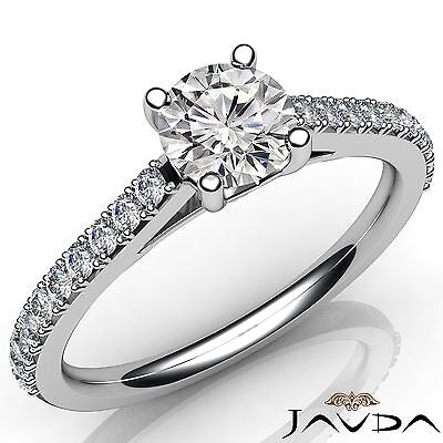 French V Pave Set Round Shape Diamond Engagement Cathedral Ring GIA H SI1 1.03Ct
