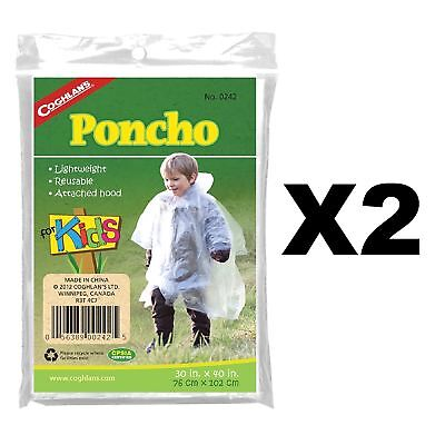 Coghlan's Poncho for Kids Lightweight Reusable w/ Attached Hood 30