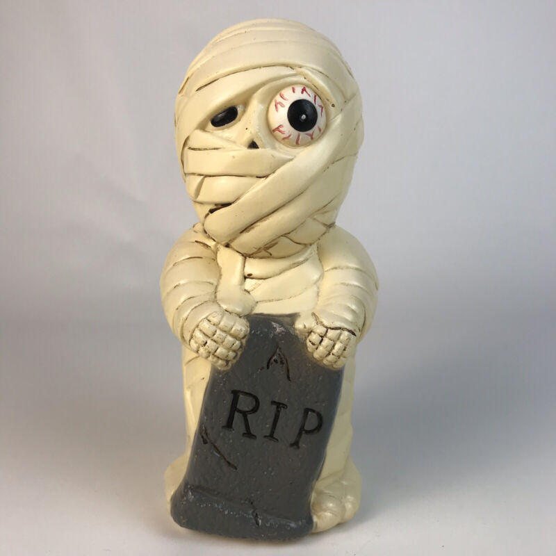 "Vtg Dynagood 9"" Halloween MUMMY BLOW MOLD RIP Tombstone Yard Pathway Light 2001"