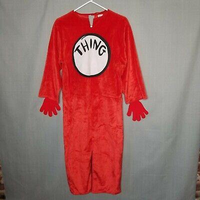 Dr Seuss Thing Costume Kids Medium 8 10 Gloves Jumpsuit Halloween Make Pretend