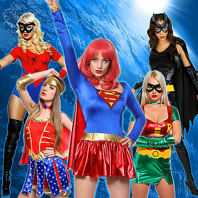6 Heroine Superhero Supergirl Wonder Woman Bat Girl Fancy Dress Costume Party
