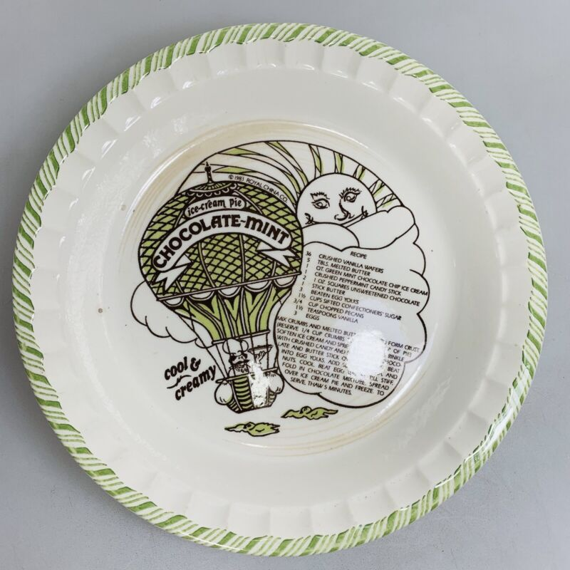 Vintage Country Harvest CHOCOLATE MINT Ice Cream Pie Plate Dish Royal China 1983