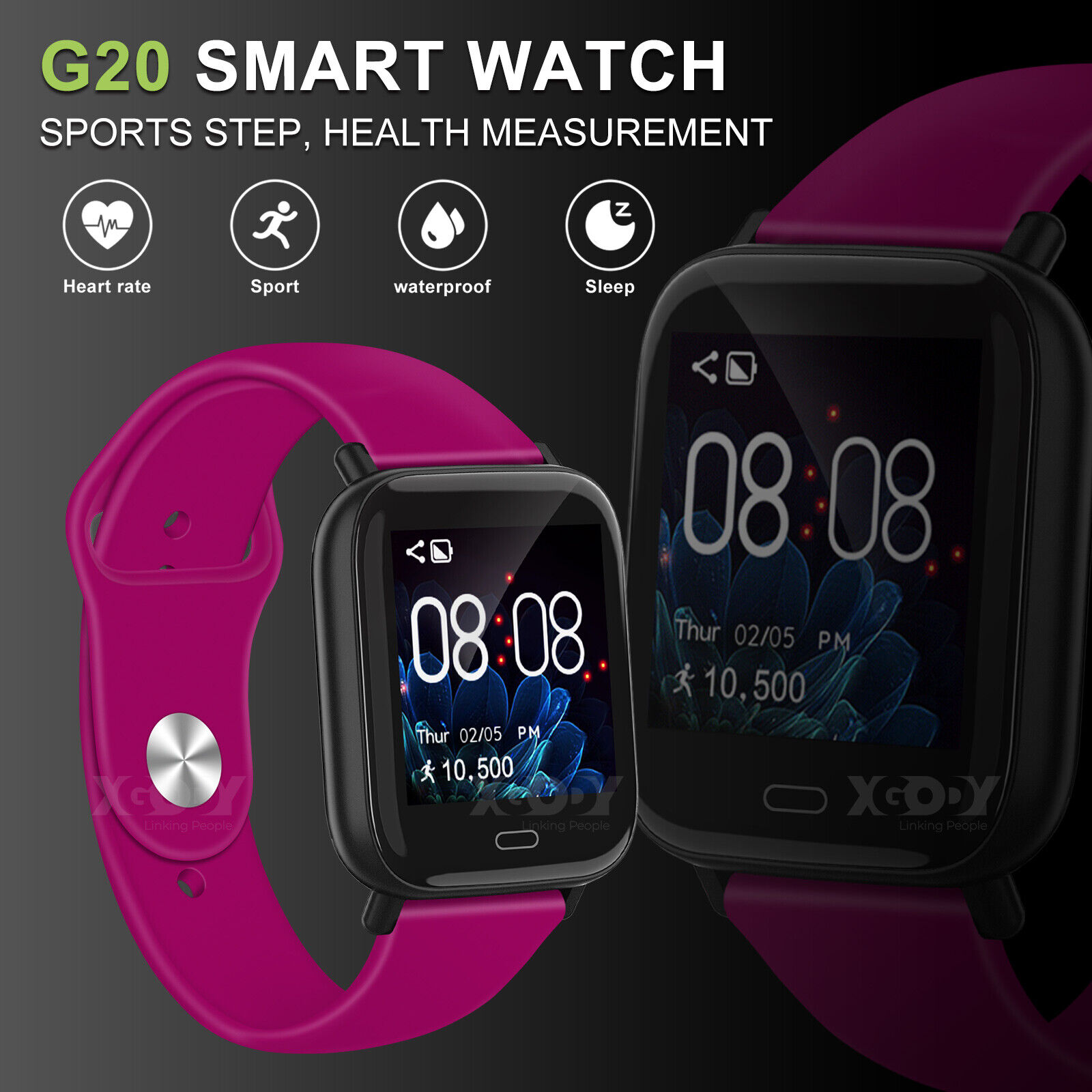 XGODY Fitness Smart Watch Tracker IP67 Women Kid for Android