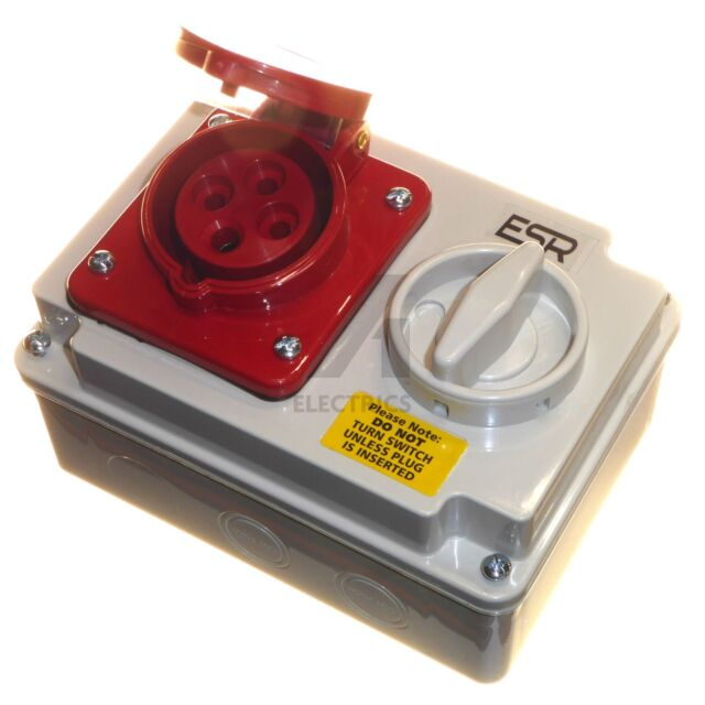 16 amp 4 pin interlocked socket with switch waterproof IP44 16A 415 volt 3 phase