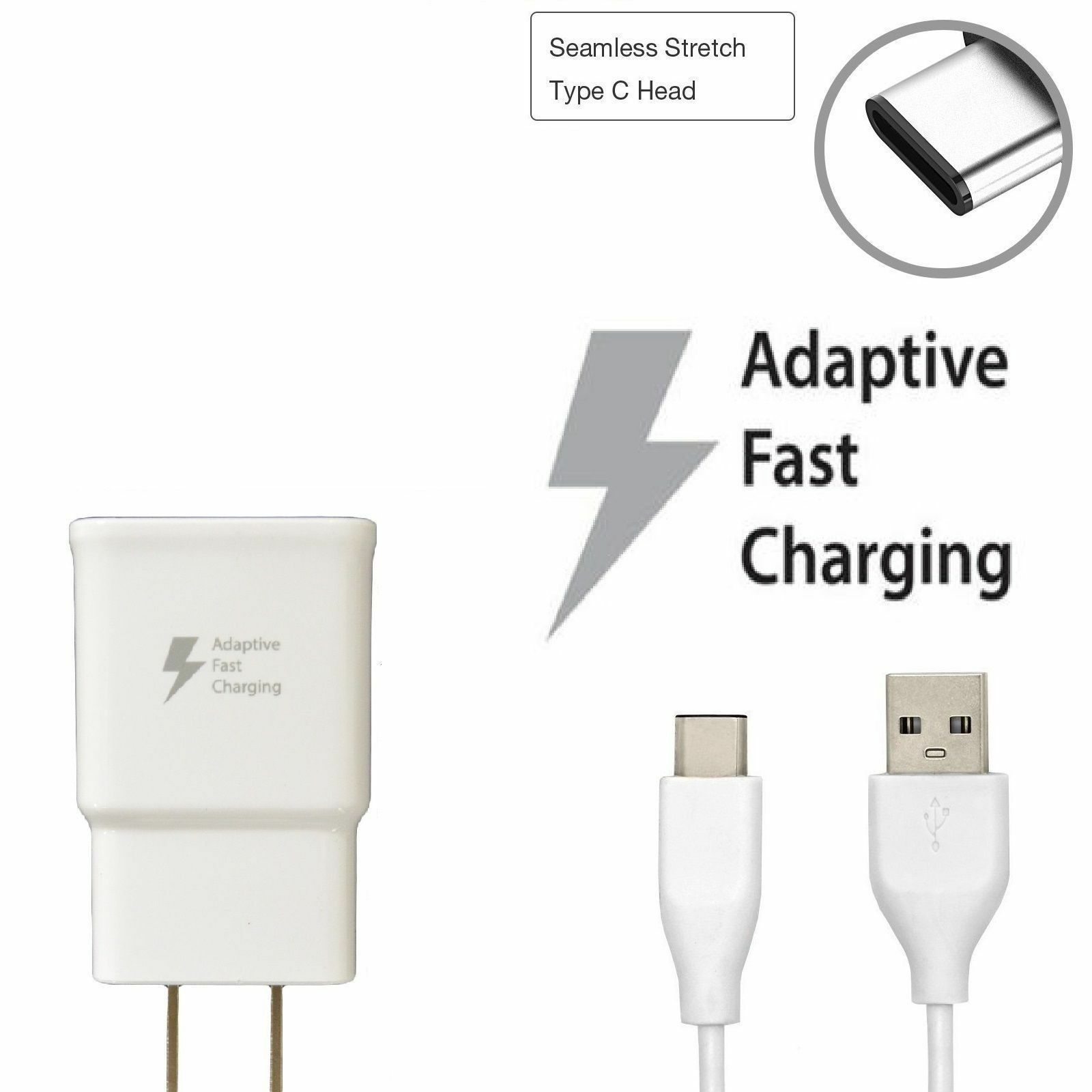 Adaptive Rapid Fast Charge Wall Charger with Cable for Samsung - White