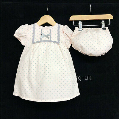 - *SALE* Gorgeous Baby Girl Spanish Pink Dot Dress Matching Pants Romany