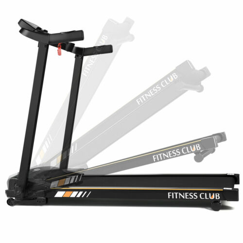New Indoor fitness Electric Treadmill Multi-Layer Wide Runway Folding  Black