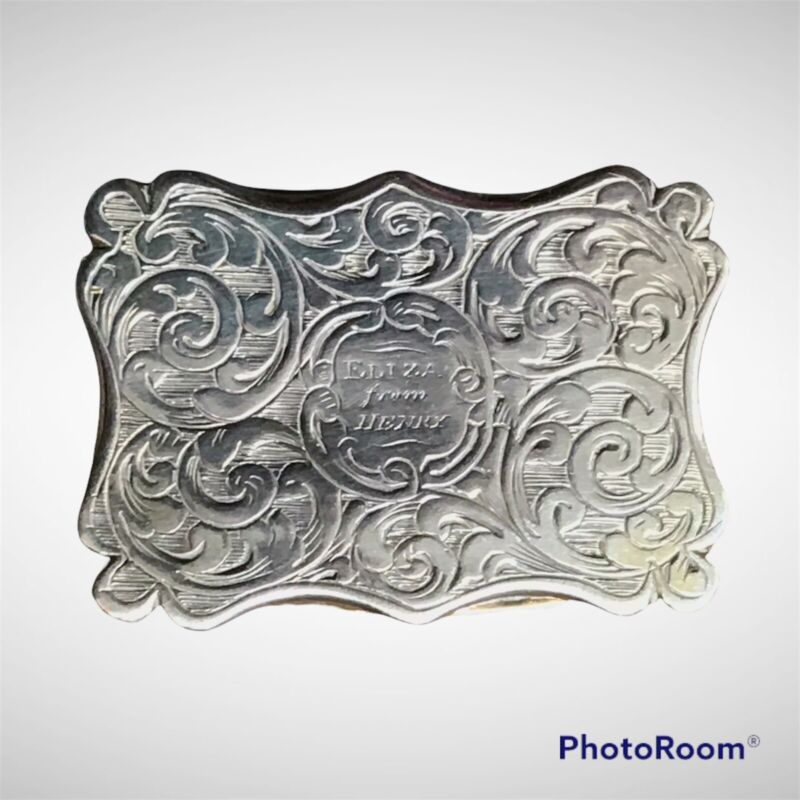 Superb Early Victorian Shaped Silver Vinaigrette By Edward Smith Birmingham 1845