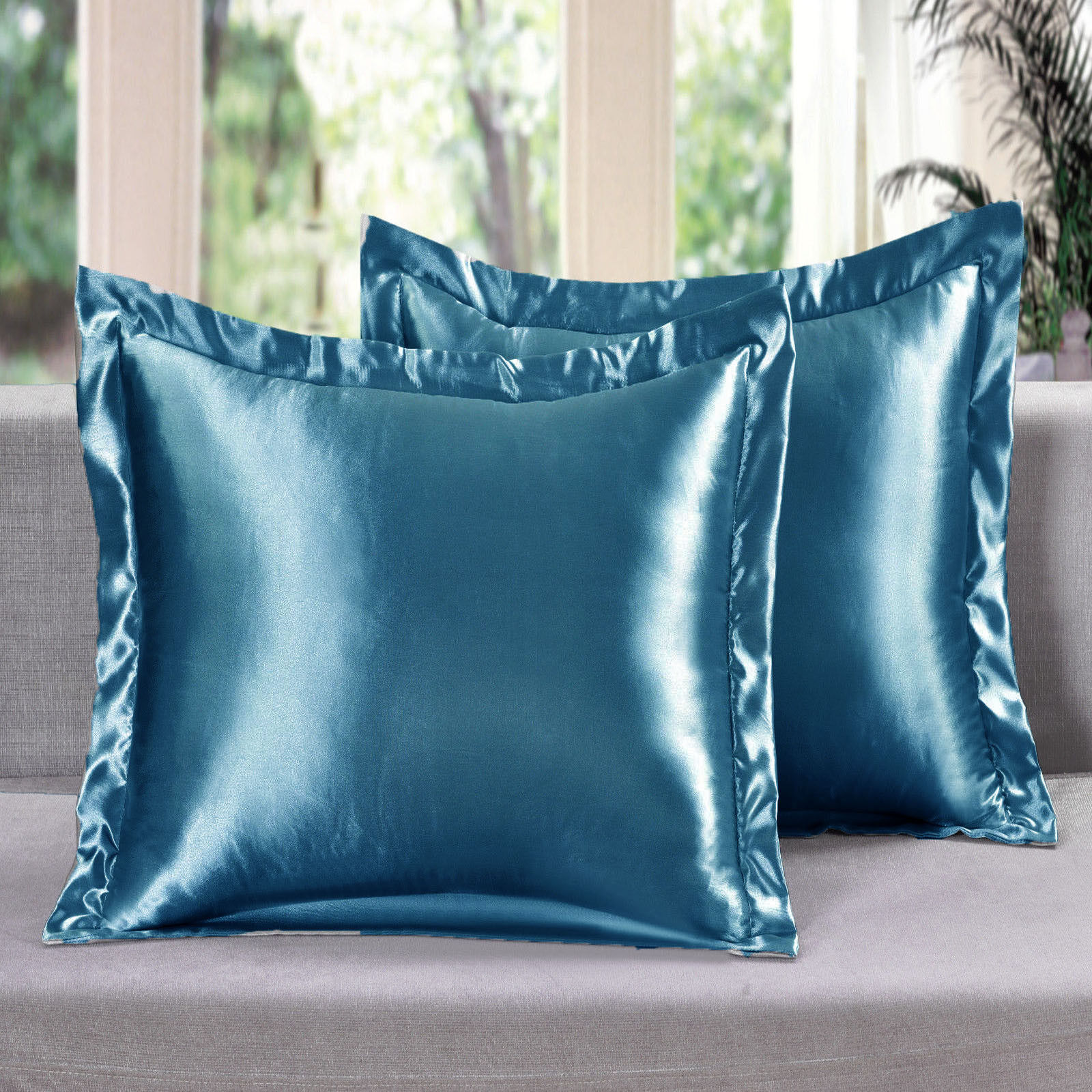 2 Piece Satin Euro Shams Solid Turquoise Cover Case Pillow AT Linen Plus Bedding