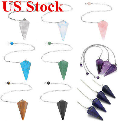 US Wholesale Natural Crystal Stone Quartz Pendulum Dowsing Reiki Chakra Pendant - Natural Crystal Pendants